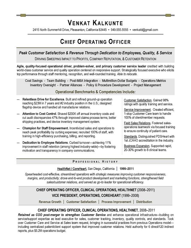 image result for sample resume hospital operations manager