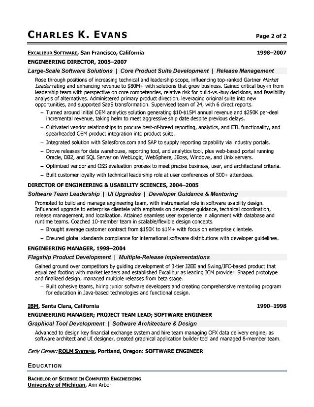 software engineering resume format