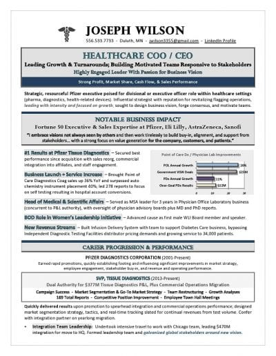 Healthcare CEO Resume