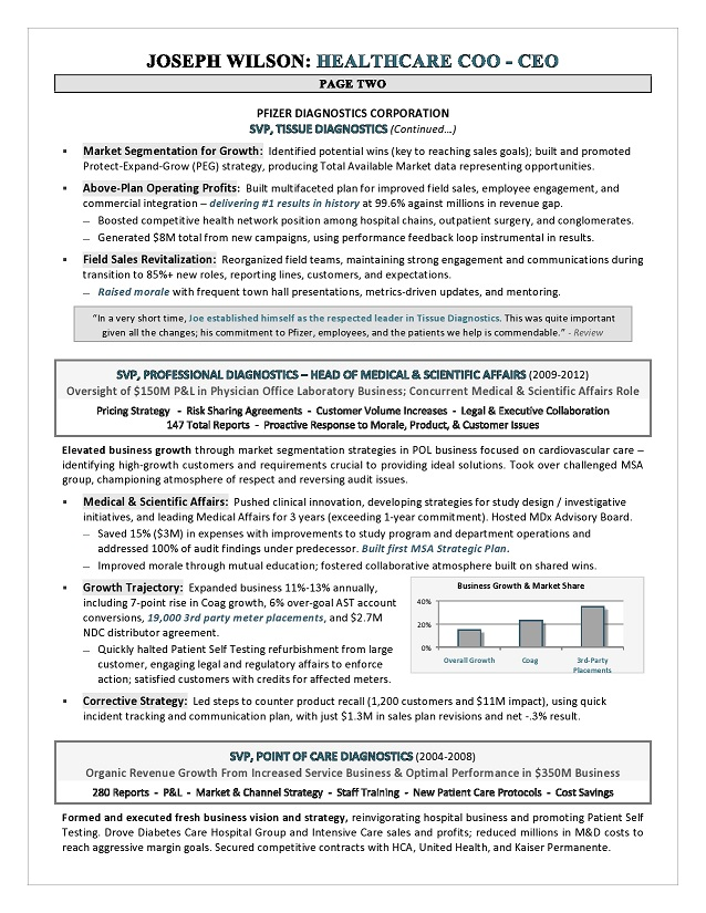 healthcare ceo coo resume sample page 2 - Coo Resume Sample
