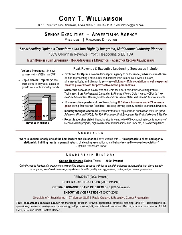 cmo sample resume