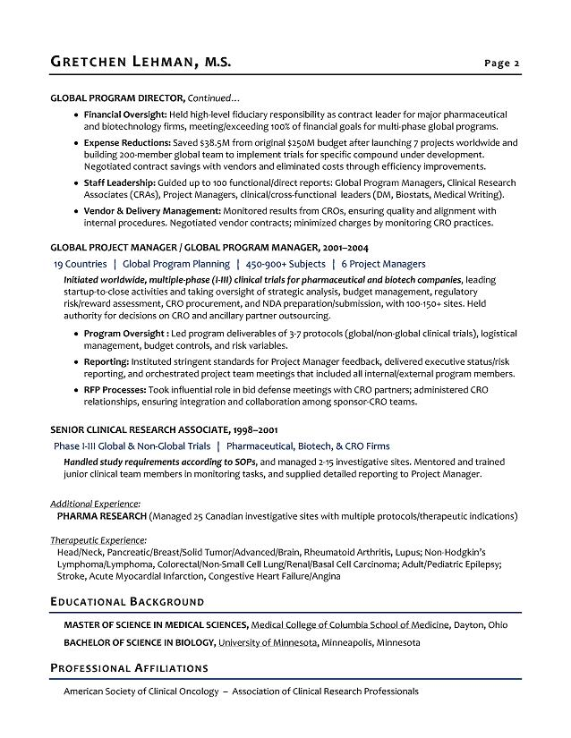 program manager sample resume biotech sample resume resume
