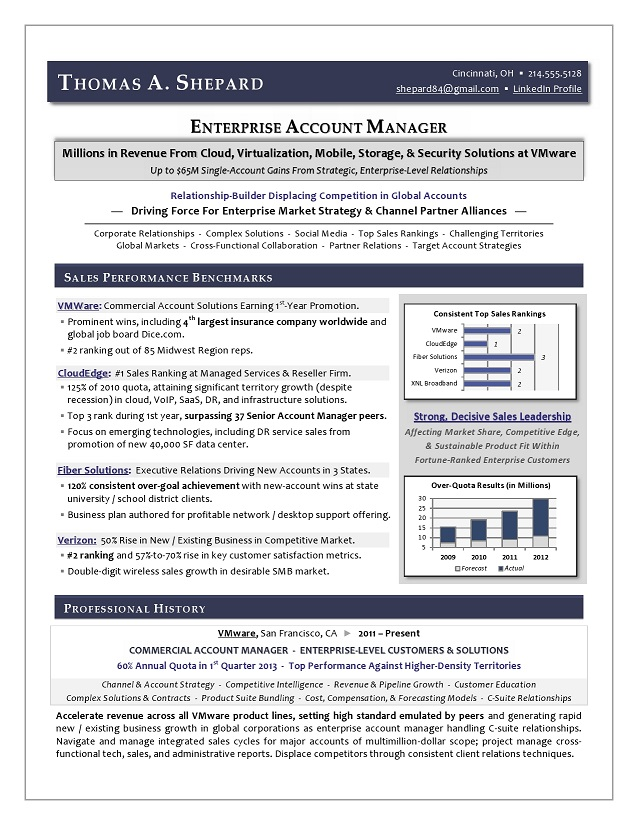 enterprise technology sales resume sample page 1