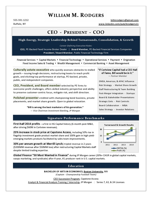 award winning ceo president coo resume