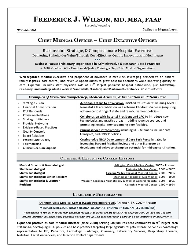 Executive Resume Samples 1 Us Award Winning Executive