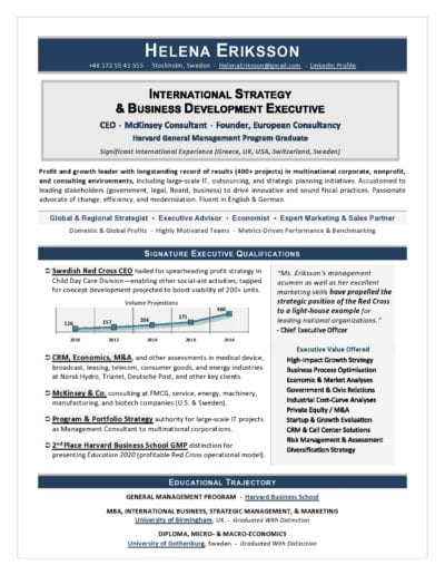 International CEO Resume