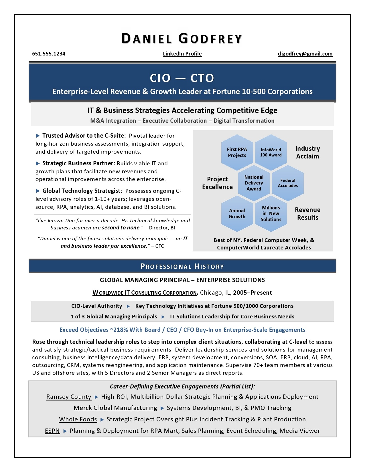 ceo    coo sample resume