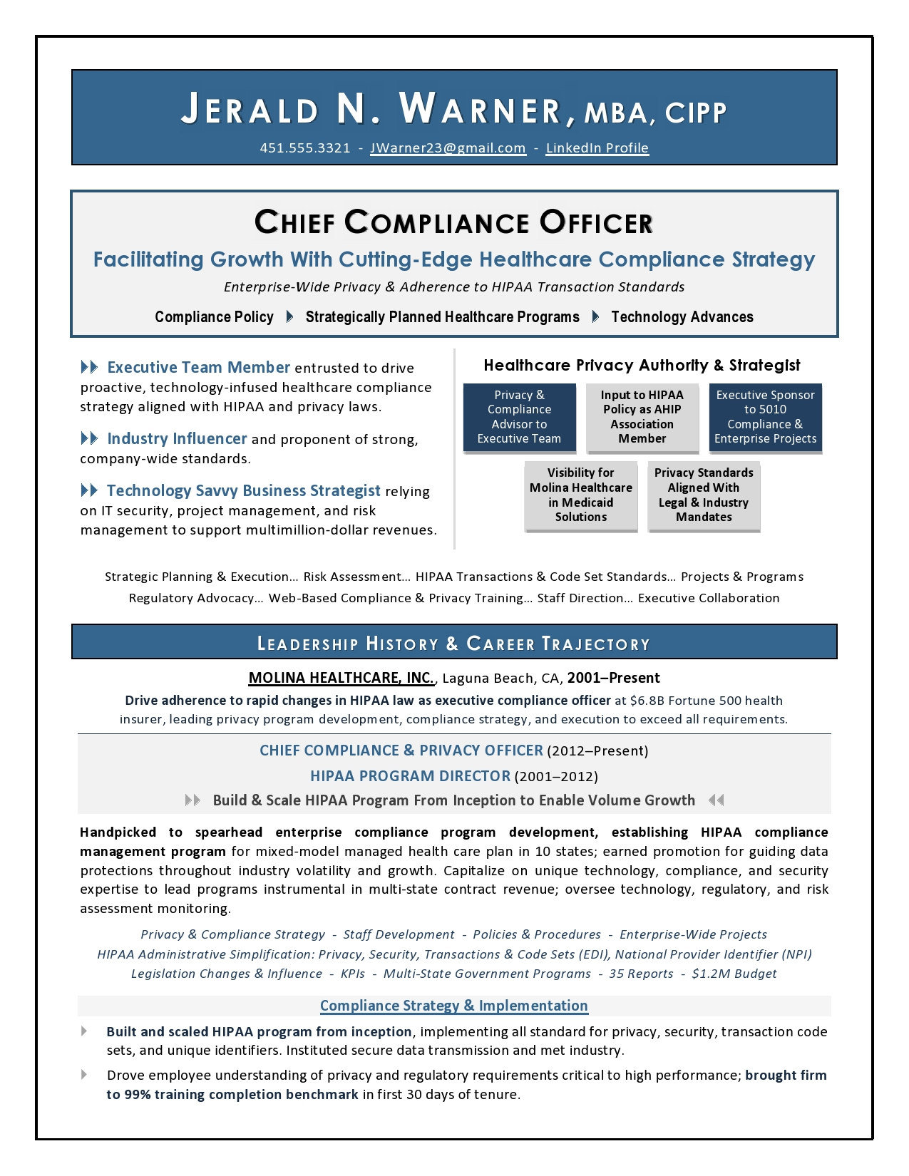 Sample Cover Letter for VP Corporate Strategy - Executive resume ...