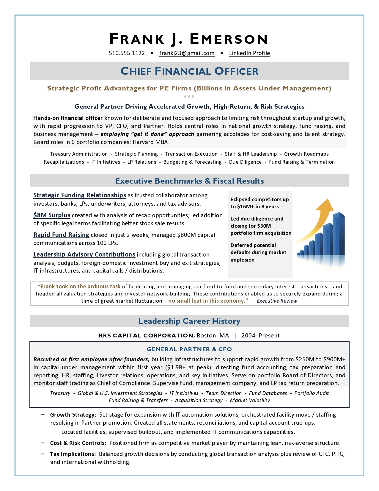 Private Equity CFO Resume Sample from Top Executive Resume