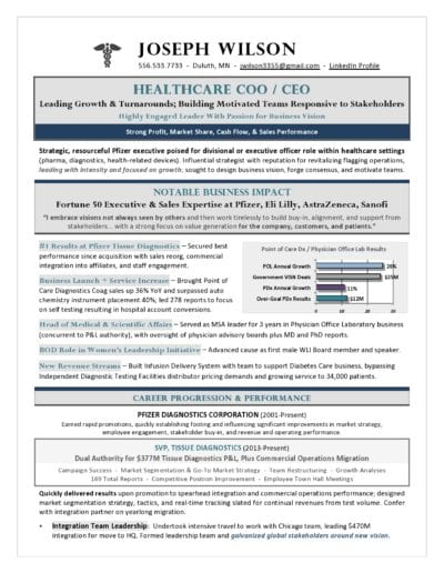Award-Winning Healthcare COO & CEO Resume by Laura Smith-Proulx