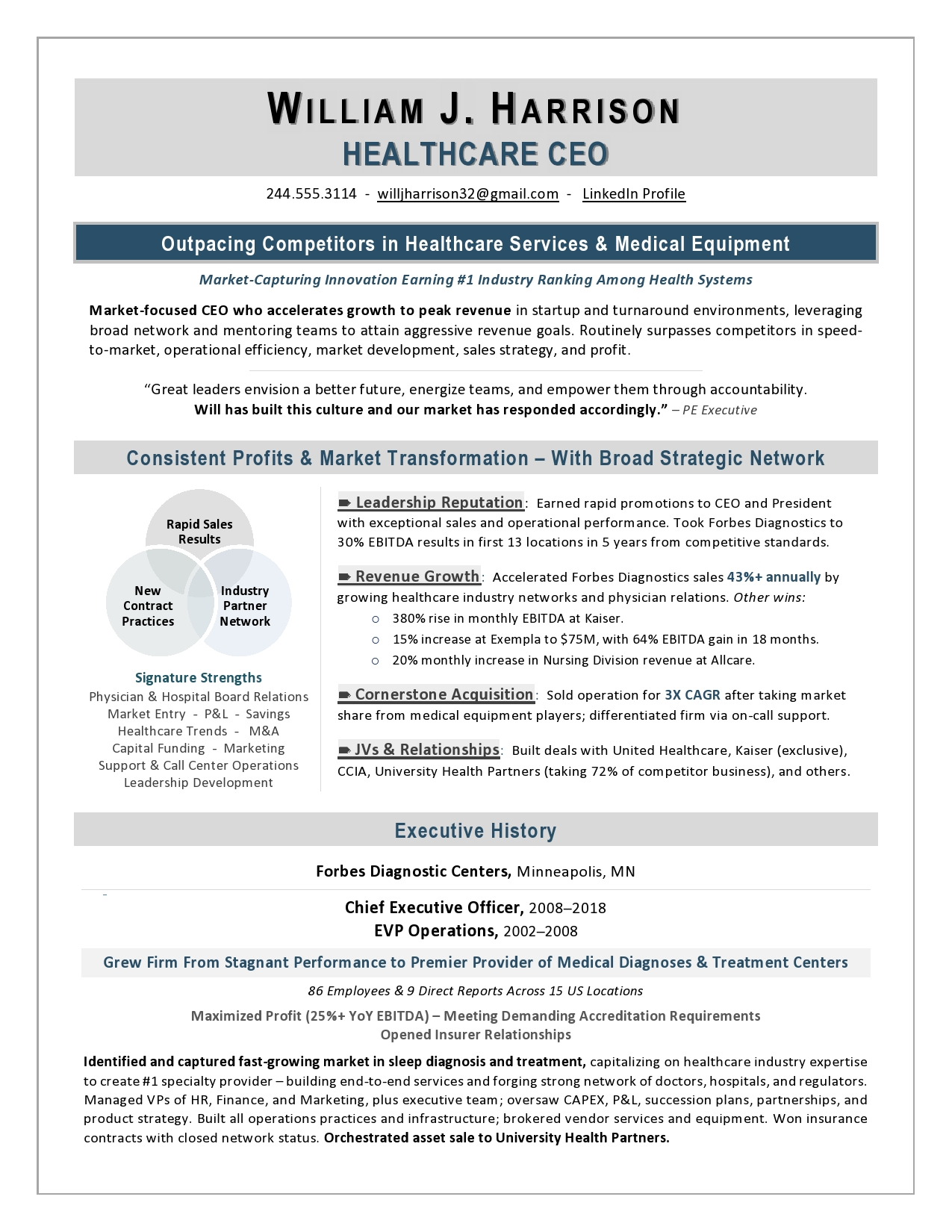 Ceo healthcare resume free resume writing lessons