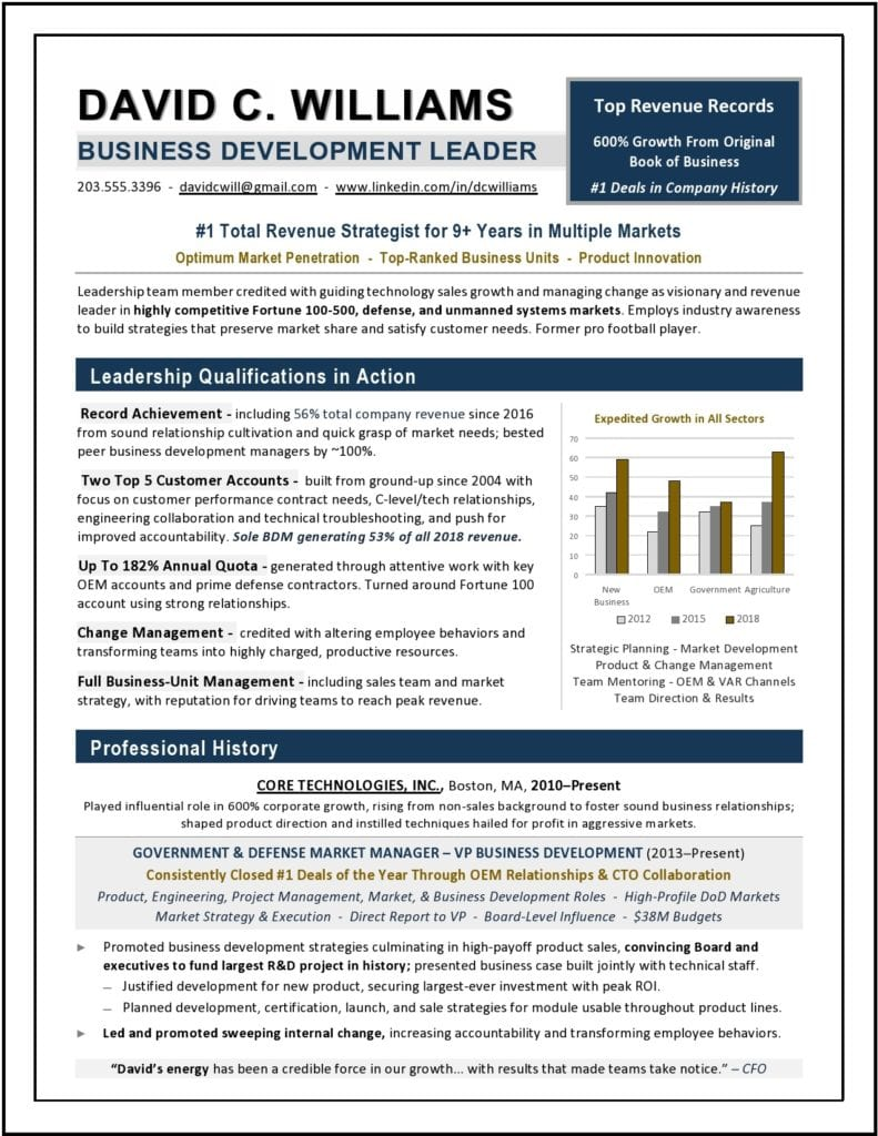 SVP Business Development Sample Resume