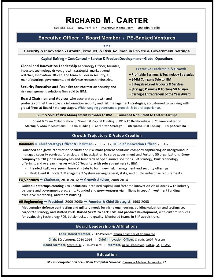 Board Resume Sample