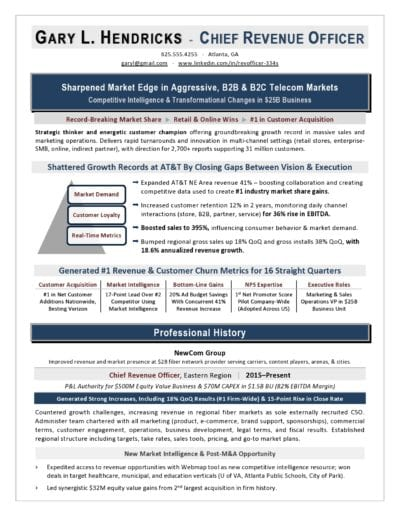 Chief Revenue Officer sample resume by Laura Smith-Proulx