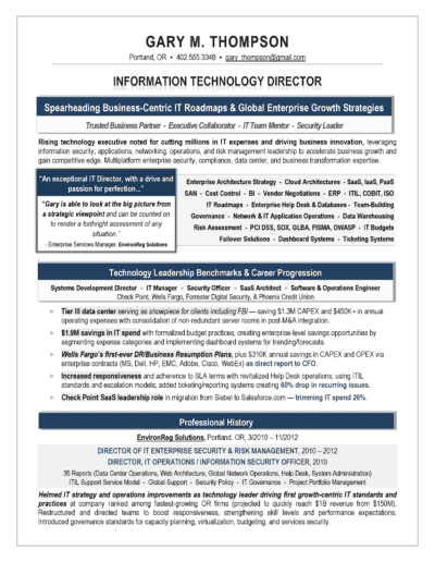 IT Director Resume Sample Award Winning IT Director Resume by Laura Smith-Proulx