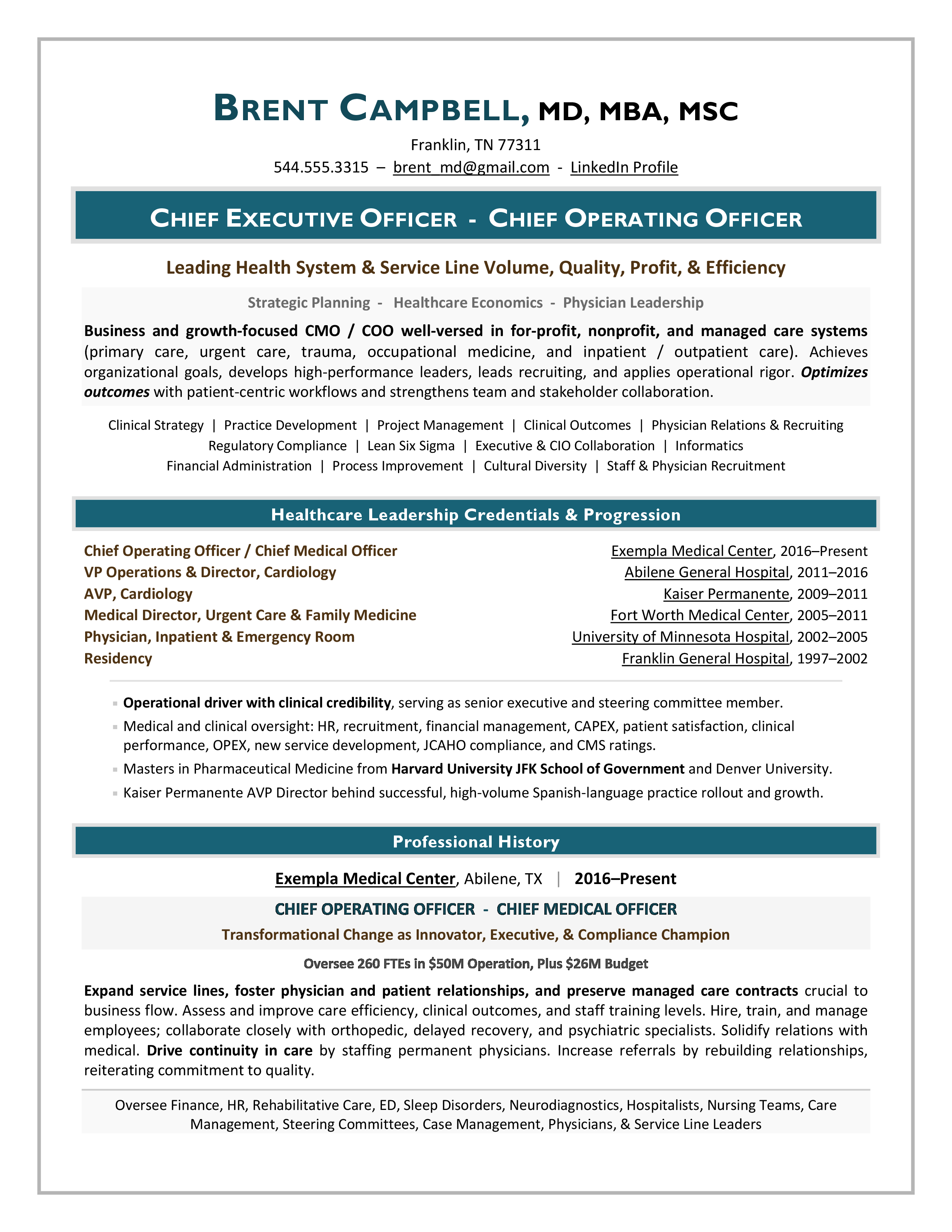 Healthcare Executive CEO & CMO Sample Resume by Laura Smith-Proulx