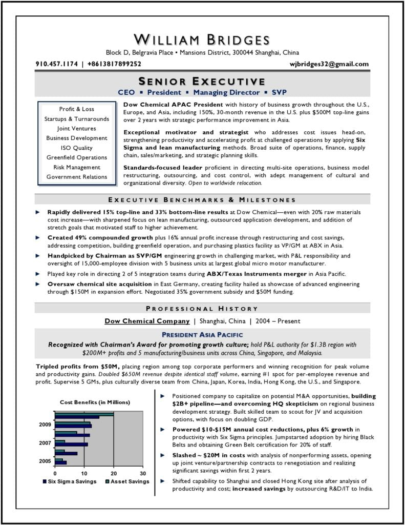 CEO & President Resume by Executive Resume Writer Laura Smith-Proulx
