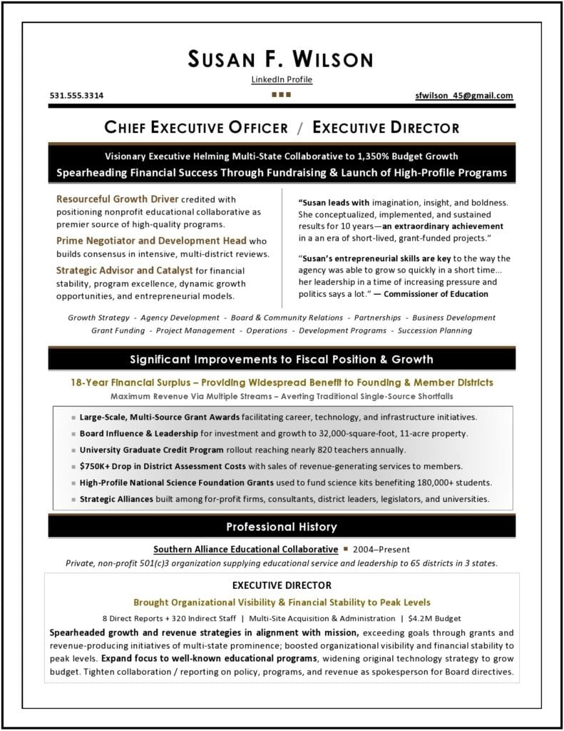 Nonprofit Executive Resume Sample