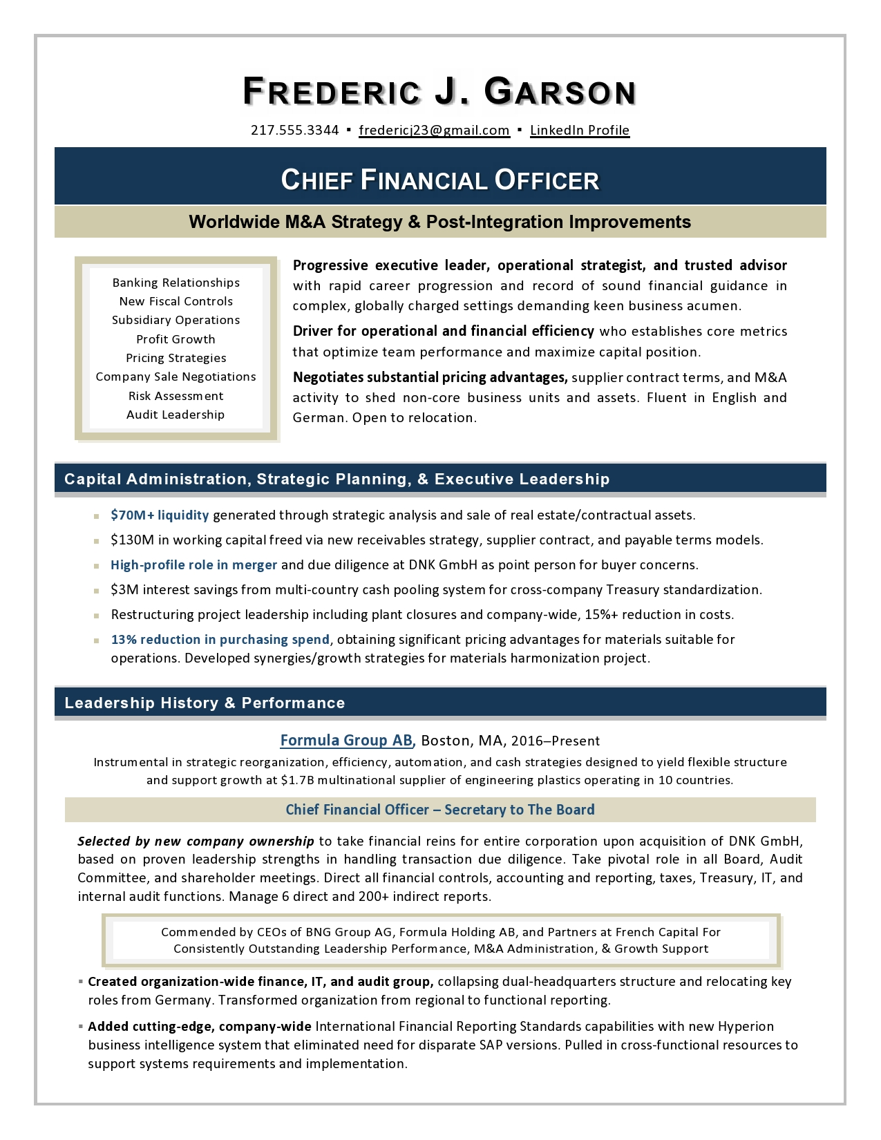 CFO resume sample by Laura Smith-Proulx