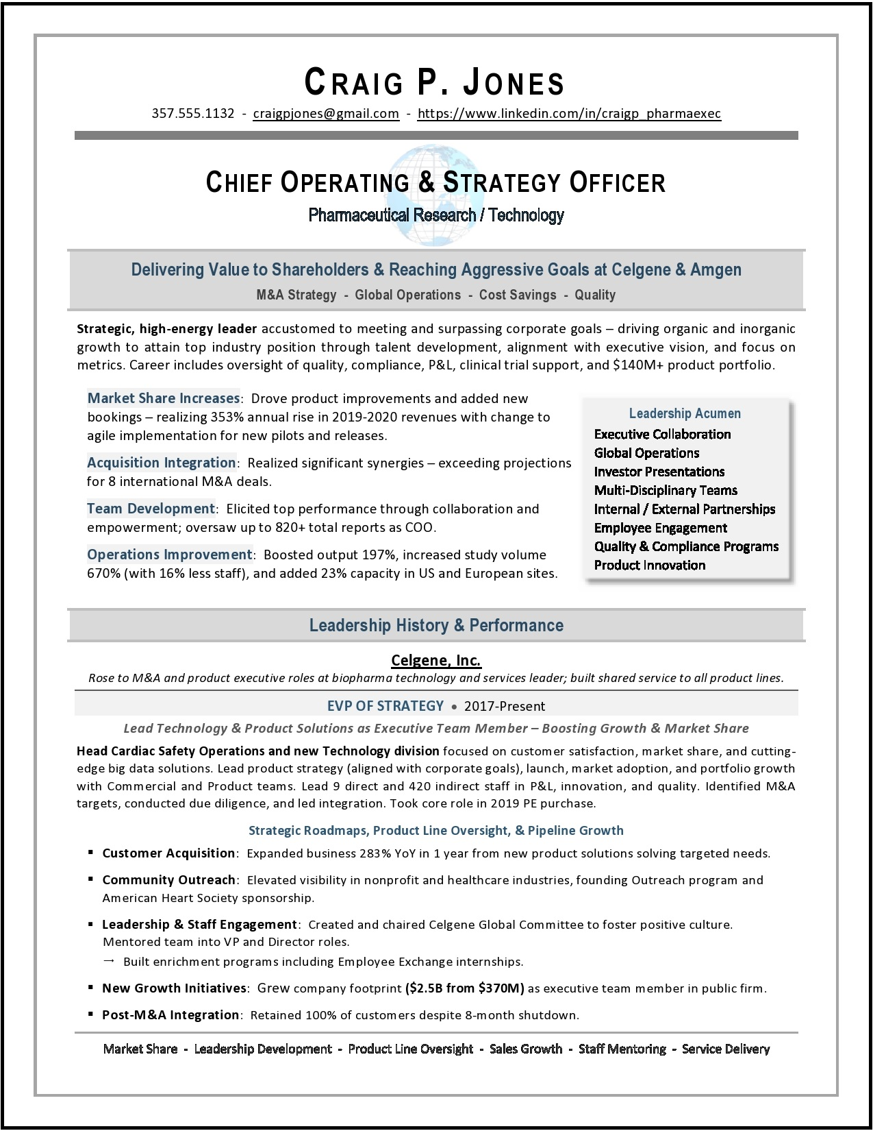 Pharmaceutical COO & Strategy Officer Resume