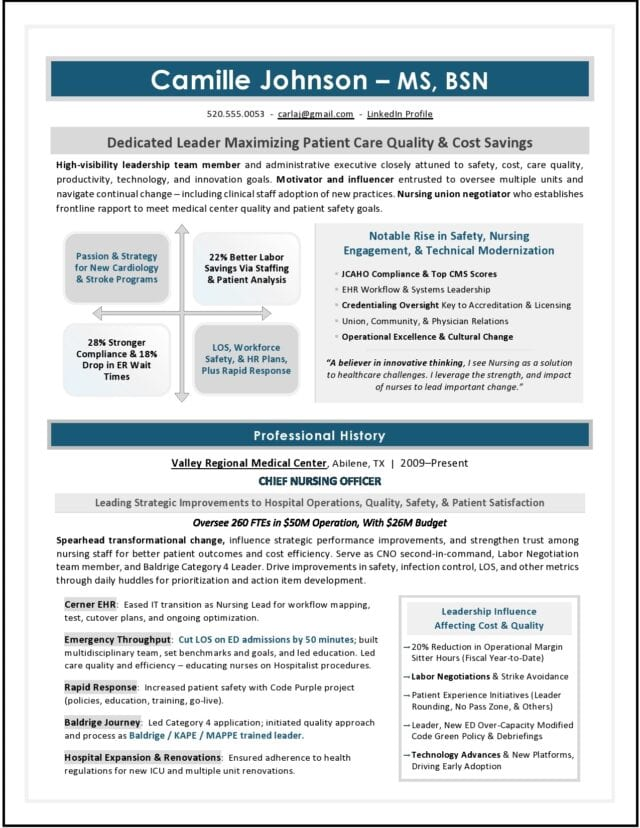 Chief Nursing Officer Resume by CNO Resume Writer Laura Smith-Proulx