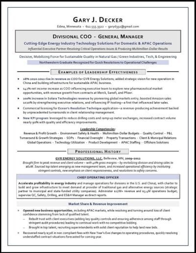 COO & GM Resume Sample by Laura Smith-Proulx