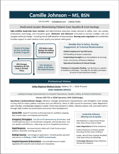 Chief Nursing Officer Resume Sample by Laura Smith-Proulx