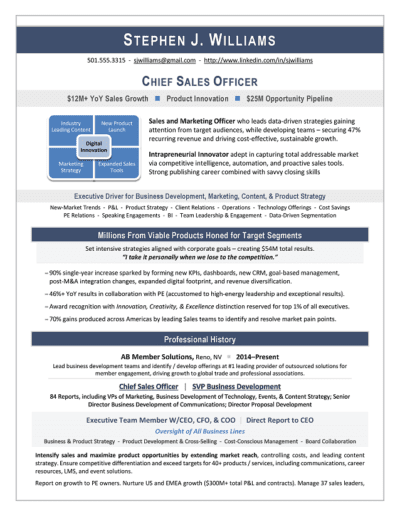 Chief Sales Officer Resume