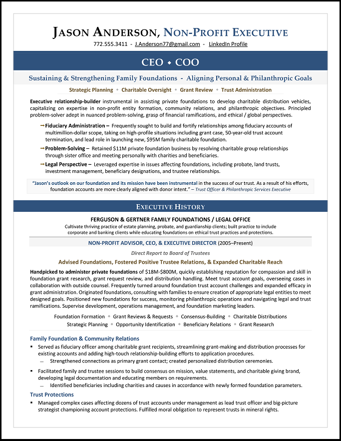 Nonprofit CEO & CEO Resume Sample by Laura Smith-Proulx